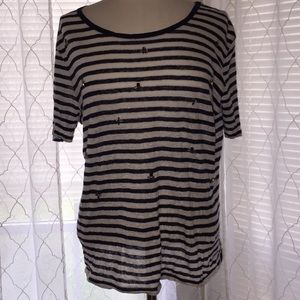 Massimo Dutti XL Navy Blue and White Striped Top